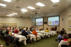 Dr. Rick Foster addresses the public at the October 2015 Dessert with Discussion event
