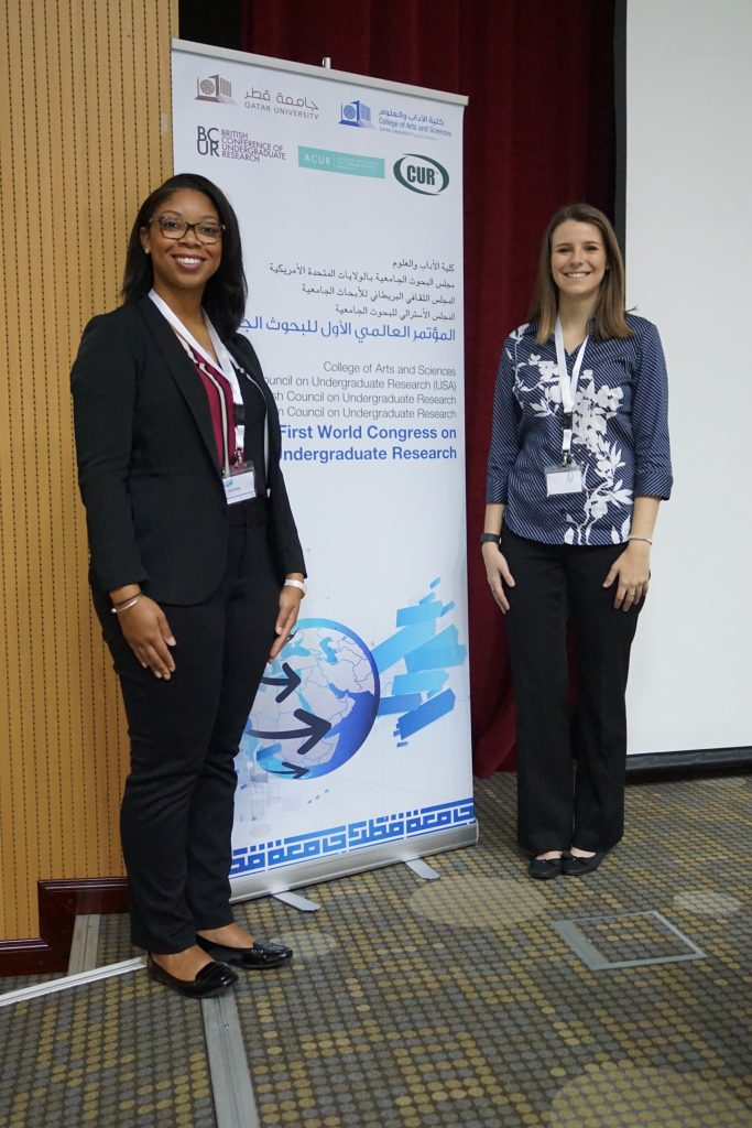Aleah Dungee & Kathryn Bloodworth at the World Congress for Undergraduate Research (WCUR)
