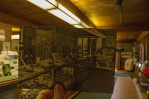 Historical then and now photo of Bird Sanctuary gift shop