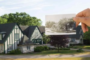 Historical then and now photo of the Carriage House