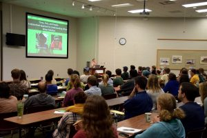 Students listen to Sarah Hobbie at an Emininent Ecologists talk in 2017