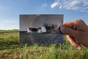 Historical then and now photo of the Kellogg Farm