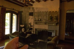 Historical then and now photo of W.K. Kellogg in the Manor House