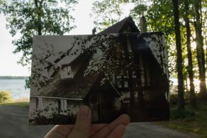 Historical then and now photo of the boathouse