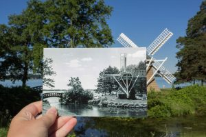 Historical then and now photo of the windmill