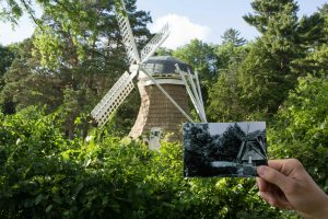 Historical then and now photo of windmill
