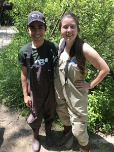 Daniel and Sophie Beery (REU) gearing up to catch Rainbow Darters