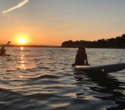 An evening spent in the water with a background Gull Lake sunset.