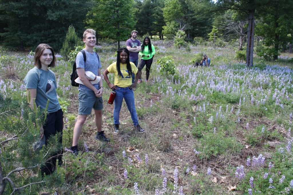 Summer program participants in the field at KBS
