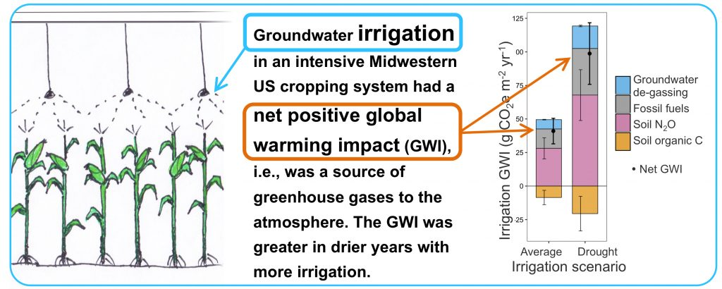 Illustration done by author Bonnie McGill. Groundwater irrigation had a net positive global warming impact.