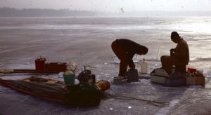 Historical photo of ice sampling on Gull Lake