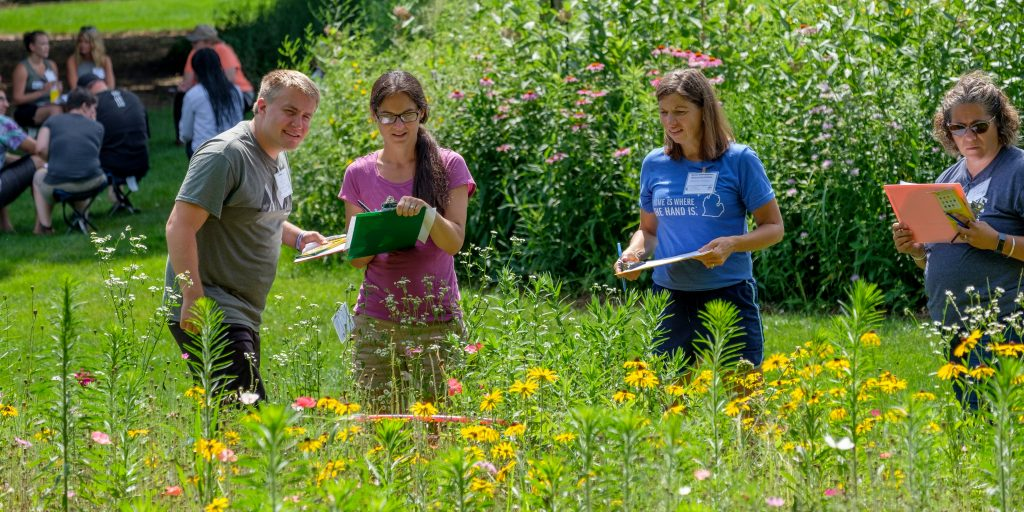 Educators observe a patch of wildflowers and take notes. Photo credit: Kurt Stepnitz