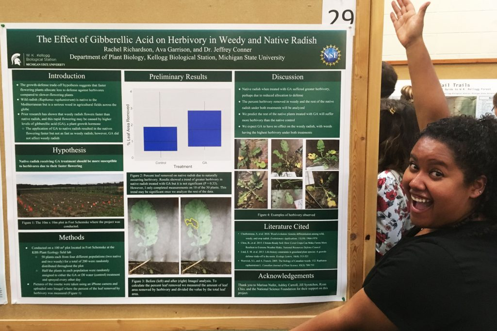 Rachel Robinson shows off her project poster at the Undergraduate Symposium.