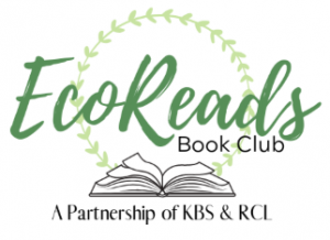 Logo for EcoReads book club, featuring a sketch of an open book.