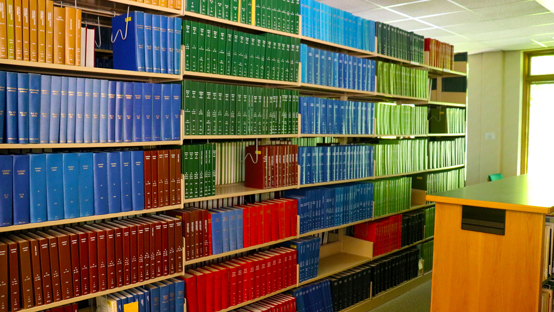Colorful shelves of books at the KBS library.
