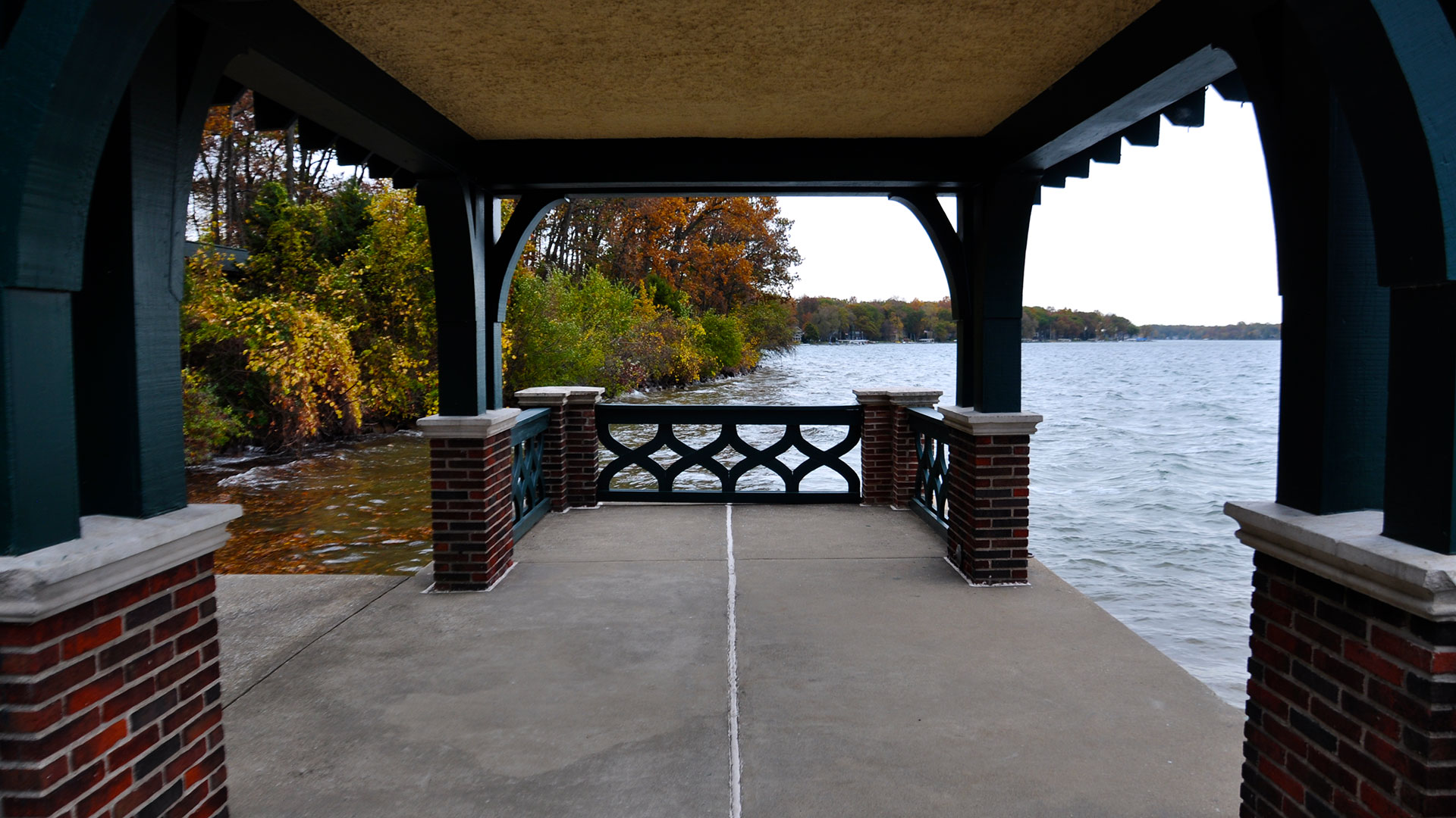 View of Gull Lake from under the Manor House pagoda.
