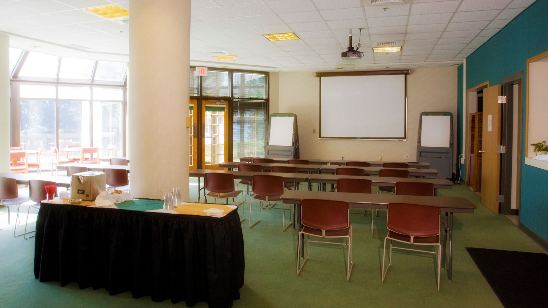 The KBS Terrace Room, set up for a class.