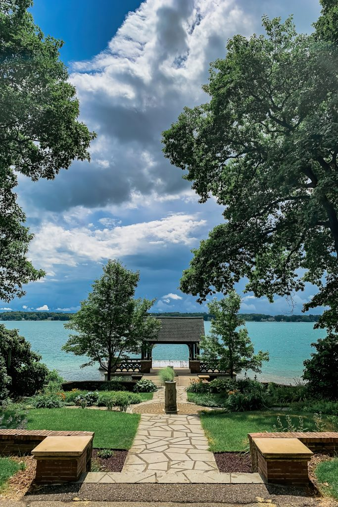 The KBS pagoda under dramatic skies with Gull Lake in the background. Photo credit: Maria Newhouse Photography