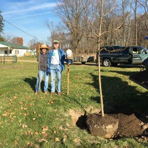 KBS staff and faculty and other friends of Dr. Richard Harwood planted a bur oak tree in his honor.