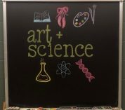 Chalkboard art drawing of items like ballet shoes, a book, and lab equipment, with text that reads, art + science