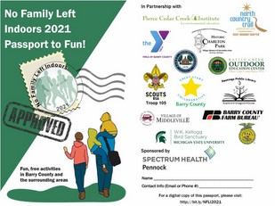 Graphic advertising the No Family Left Indoors program, showing a family walking together.