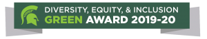 Green, white and gray banner with the Spartan helmet logo and the words Diversity, Equity and Inclusion Green Award 2019-20.
