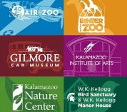 Image with the logos for the six organizations participating in the Southwest Michigan Cultural Membership Exchange.