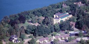 An aerial view of the KBS academic campus on the shores of Gull Lake.