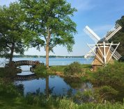 A summer view of KBS's Windmill Island, showing the island's windmill and footbridge, with Gull Lake in the background.
